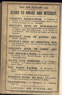 Beeton's Riddle Book. Lower paper cover. This British Library copy is at shelf mark 12305bb27