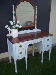 Looks a bit like my vanity.....Beautiful vanity painted with Annie Sloan paint.
