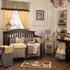 When I saw this, I fell in love. Brea's nursery was born. You should have seen the looks I got when I told people I was doing her nursery in red, yellow, brown, and little pops of baby blue. I like that she can grow with her room. Two years and I still love it!