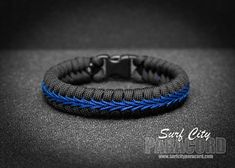 Police Thin Blue Line Stitched Fishtail Paracord Bracelet. – Surf City Paracord, Inc #policephysical