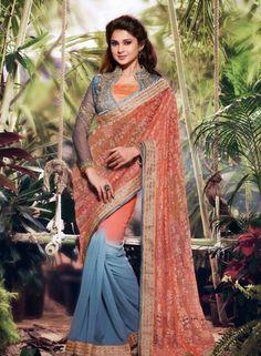 Orange & grey net jacquard half half designer saree E15558