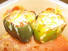 Stuffed Peppers in Pampered Chef Deep Covered Baker.  www.pamperedchef.biz/chopchopteresa  Made this tonight! Super fast, easy and yummy!