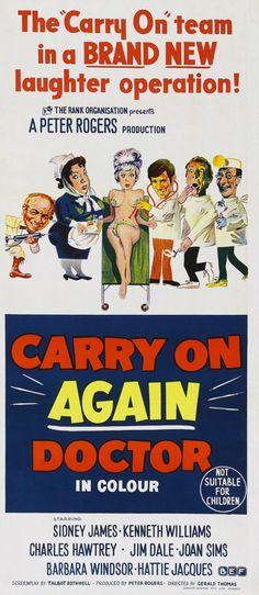 Carry On Again Doctor Sid James Kenneth Williams Charles Hawtrey British Comedy Films, Comedy Movies, Film Movie, 1969 Movie, English Comedy, Old Movie Posters, Film Posters, Sidney James, Jim Dale