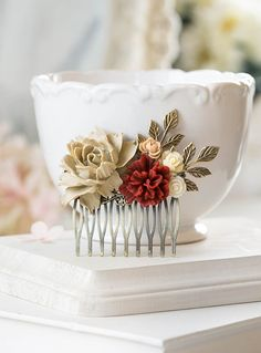 Vintage Inspired Wedding Floral Bridal Hair Comb Red Burgundy Khaki Almond Apricot Ivory Flowers Brass Leaf Collage Hair Comb Woodland Hair