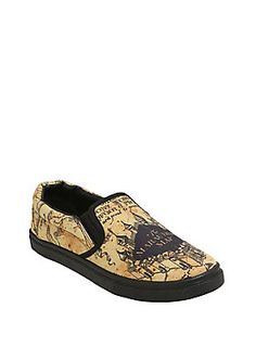 """Maybe the awesome Marauder's Map print on these sneakers will keep your footprints from showing up on the map and allow you to roam freely. Maybe. <i>Harry Potter</i>themed sneakers with black outsoles.<div><ul><li style=""""list-style-position: inside !important; list-style-type: disc !important;"""">Man-made materials</li><li style=""""list-style-position: inside !important; list-style-type: disc !impor..."""