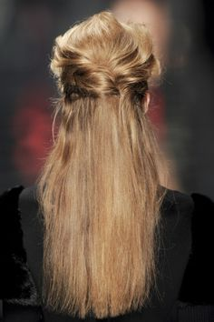 Pin your hair half-up, half-down