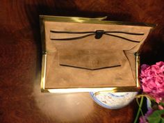 inside in suede of a real crocodile 50s brown clutch