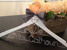 bejewelled bride hanger with date - Google Search