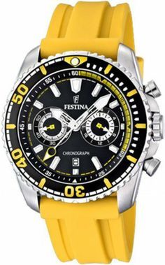 Festina Men's Chrono Single Alarm F16574/1 Yellow Polyurethane Quartz Watch with Black Dial Festina. $147.84. Chrono Single Alarm Collection. 44mm Case Diameter. 100 Meters / 330 Feet / 10 ATM Water Resistant. Quartz Movement. Mineral Crystal