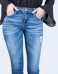 Mid-Rise Blue Denim Jeans - Blue Denim Jeans - Frayed Cropped Jeans – 2020AVE