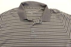 6b166069dd0c Eddie Bauer Polo Shirt Mens 3XL Gray White Striped Short Sleeve Casual Grey   EddieBauer  PoloRugby