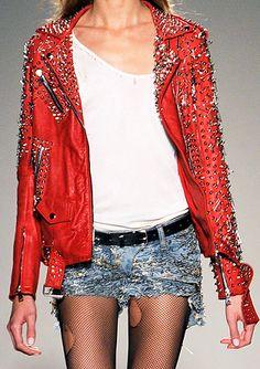 Balmain Spring 2011 RTW Embellished Red Leather Biker Jacket