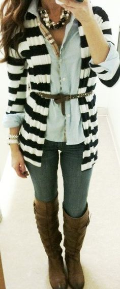 striped cardigan, belted.