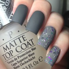 Matte Grey Nail Polish - Cute Nails for Women Grey Matte Nails, Grey Nail Polish, Nail Art Designs 2016, Grey Nail Designs, Stylish Nails, Trendy Nails, Gorgeous Nails, Love Nails, Matt Nails