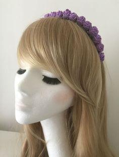 Floral Flower Garland Crown Headband Festival Boho Wedding Vintage Purple Rose