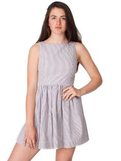 American Apparel Sun Dress - White Brown Seersucker / S FREE Shipping! - http://margoclothing.pesonashop.com/american-apparel-sun-dress-white-brown-seersucker-s-free-shipping
