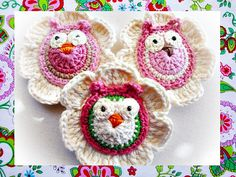 Ravelry: Lovely Flowers With Owls Crochet Patterns pattern by Maria Manuel Owl Crochet Patterns, Crochet Owls, Crochet Motifs, Owl Patterns, Crochet Gifts, Yarn Flowers, Crochet Flowers, Crochet Flower Tutorial, Crochet Christmas Ornaments