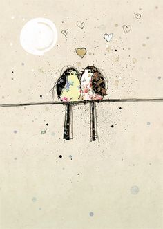 Two Lovebirds by Jane Crowther. Design for Bug Art greeting cards. Illustrations, Illustration Art, Art Fantaisiste, Art Mignon, Bug Art, Bird Cards, Whimsical Art, Love Birds, Oeuvre D'art