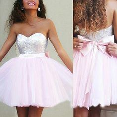 Hot Ball Gown Sweetheart Short Tulle Pink Prom Dress With Sequins