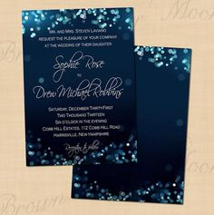 Midnight Blue Bokeh Night Sky Editable Wedding by BrownPaperMoon