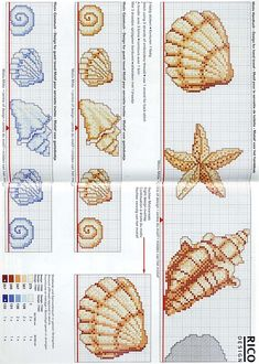 Cross stitch pattern, shell.