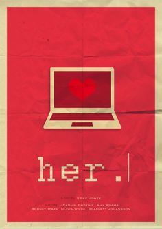 Her (2013) a film by Spike Jonze. .Alternative movie poster. Author: Kamila Trzeciak.