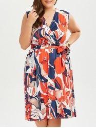 #AdoreWe #Gamiss Gamiss Sleeveless Printed Plus Size Surplice Dress - AdoreWe.com