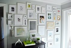 White frames | Family photo wall | Keys | Found on www.younghouselove.com | live from IKEA FAMILY