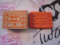 tape stamp by kateplee (flickr) http://www.flickr.com/photos/kpatricialee/with/4861555591/ #stamping #handcarved