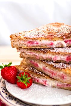 A healthy version of strawberry cheesecake stuffed French toast! Under 300 calories! | savorynothings.com