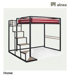 alinea :  home lit mezzanine 2 places noir avec sommier (140x200cm)   meubles chambre lits   - #Alinea #Décoration #Lit #Sommier #Noir - inspiration meubles et déco