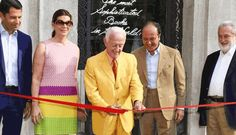 Alberto Nardi, Arrigo Cipriani and Attilio Codognato join Martine and Prosper Assouline for the official opening of their new boutique within the Bauer Hotel in Venice Red Leather, Leather Jacket, Assouline, Culture, Jackets, Design, Fashion, Studded Leather Jacket, Down Jackets