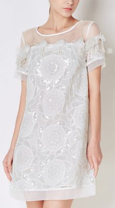 Floral Applique Sequined White Mesh Dress