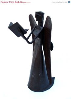 Wrought Metal Primitive Rustic Art Angel Holding Book Sculpture Statue Candle Holder 12 Inches