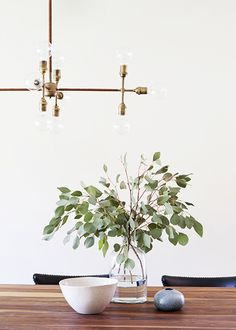 A Light, Bright, and California Cool Space// brass chandelier, Apparatus Studio