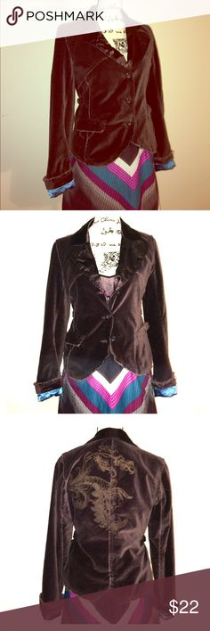 SALE! BKE velour jacket Intentionally distressed rich brown velvet/velour BKE Jacket. Beautiful blue lining. Good used condition, flaws I've noted can be seen in photos 4-tiny area on decal & 7- tear on seem of lining. Size medium w/ side adjusters(see pic5) Jackets & Coats Blazers
