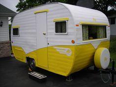 yellow vintage caravan
