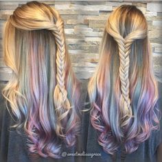 Summer braids, long wavy hair, colormelt #haircolor #hairchalk