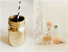 gold painted ball jar
