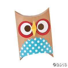 Owl Treat Holder Craft Kit. Could be made out of toilet paper roll? Or heavy craft paper would be easier to just cut and glue in a pillow box shape.  ~Heather
