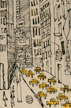 New York City Taxi Drawing Signed Art Print New York Painting Manhattan Street Dont Walk One Way NYC Sign Skyscrapers Clare Caulfield Art Prints, Urban Sketching, Sign Art, Drawings, Taxi Drawing, New York Painting, Nyc Art, Architectural Prints, Architecture Art