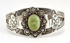 Vintage Native American Navajo Sterling Turquoise Thunderbird Cuff Bracelet