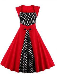 GET $50 NOW | Join RoseGal: Get YOUR $50 NOW!http://m.rosegal.com/vintage-dresses/retro-polka-dot-square-neck-869524.html?seid=7779863rg869524