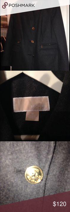 Charcoal gray Michael Kors wool Walker coat Charcoal gray military inspired wool Walker coat.   Worn a few times but still In like new condition Michael Kors Jackets & Coats