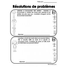 Résolutions de problèmes Numeracy Activities, Literacy And Numeracy, Daily Math, Becoming A Teacher, Cycle 3, Financial Literacy, Brain Teasers, Fractions, Problem Solving