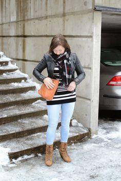 #winterstyle #leatherjacket #stripes #lightdenim #bloggeroutfit
