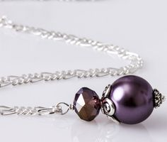 Purple Grape Pendant Necklace Grape Bridesmaid by VioJewelry Cadbury Purple Wedding, Pearl Earrings, Bridesmaid, Pendant Necklace, Pearls, Unique Jewelry, Handmade Gifts, Vintage, Etsy
