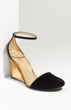 Gucci Ankle Strap Peep Toe Wedge