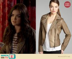 Aria's light brown studded jacket on Pretty Little Liars.  Outfit details: http://wornontv.net/17371/