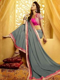 Grey Georgette Saree With Embroidery Work